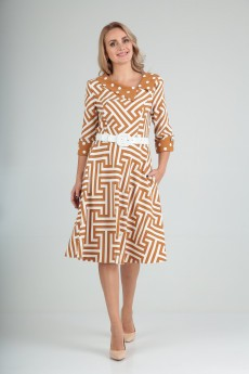 Платье 2181 горчица зиг-заг Moda-Versal