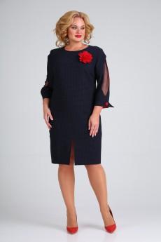 Платье 2340 темно-синий + красный Moda-Versal