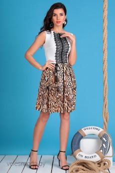 Платье 2326 молочный+леопард Мода-Юрс