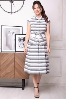 Костюм с юбкой 2352 серый + полоска Мода-Юрс