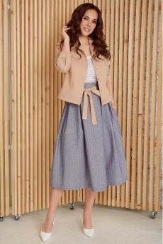 Костюм с юбкой 2400 беж+голубой Мода-Юрс