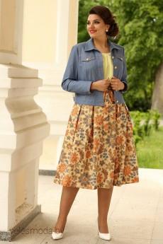 Костюм юбочный 2400 джинс+желтый Мода-Юрс