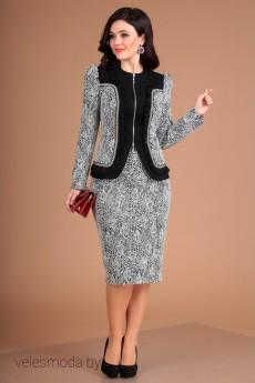 Костюм с юбкой 2540 серый+черный Мода-Юрс