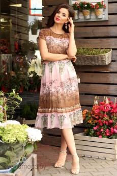 Платье 2557 розовый+коричневый Мода-Юрс