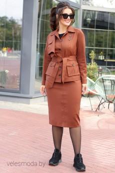 Костюм с юбкой 2591 коричневый Мода-Юрс