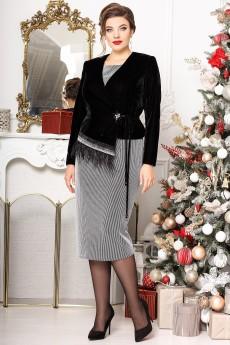 Костюм с платьем 2627 серебро+черный Мода-Юрс