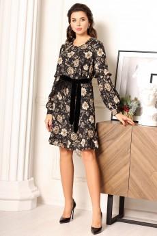 Платье 2634 черный+бежевый Мода-Юрс