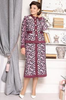 Костюм с юбкой 2635 розовый+леопард Мода-Юрс