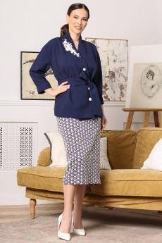 Костюм с юбкой 2670 синий + белый Мода-Юрс