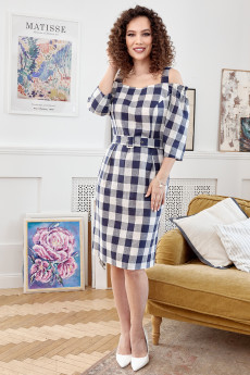 Платье 2674 синий + клетка Мода-Юрс