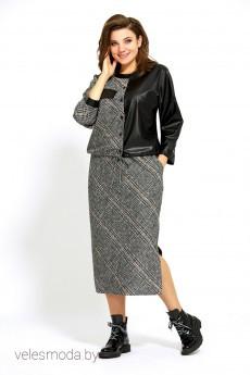 Костюм с юбкой 501 серый+черный Мублиз