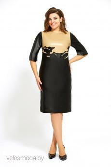 Платье 504 черн+беж Мублиз