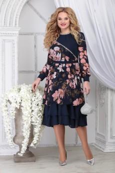Платье 7311 синий+цветы Ninele