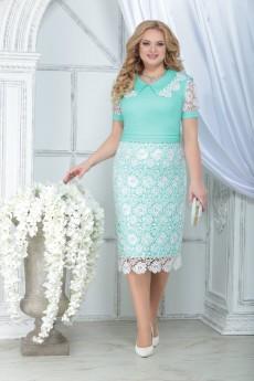 Платье 7317 светло-зеленый+белый Ninele