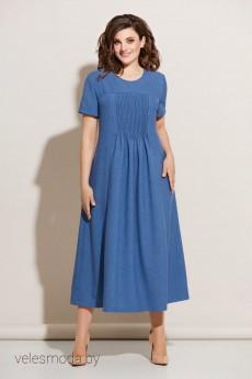 Платье 605 синий  Ольга Стиль