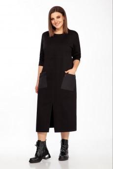 Платье 728 черный Ольга Стиль