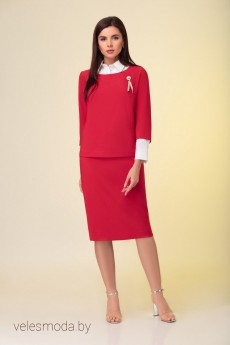 Костюм с юбкой 3489 красный Prestige
