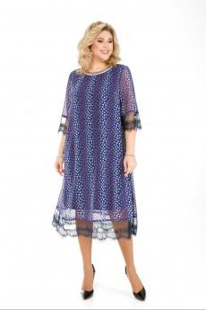 Платье 1031 василёк+горох Pretty