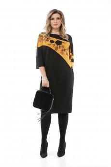 Платье 1894 черный+горчица Pretty