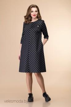 Платье 1-1462 темно-синий+серый Romanovich style