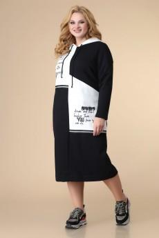 Платье 1-2076 черный + белый Romanovich style
