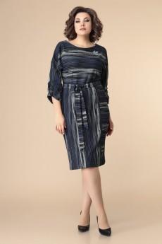 Платье 1-2218  синий + полоска Romanovich style