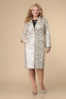 Костюм с платьем 3-2188 кремовый + черный Romanovich style