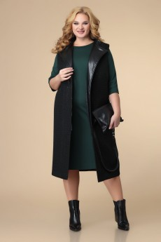 Костюм с платьем 3-2212 черный + зелень Romanovich style