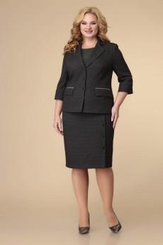 Костюм с юбкой 3-2220 черный + зелень Romanovich style