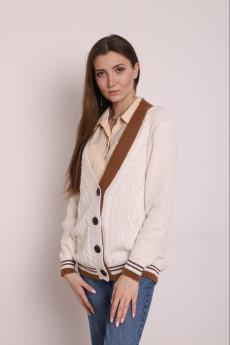 Жакет 3399 белый + светло-коричневый + темно-коричневый Romgil