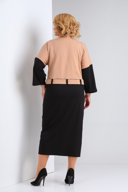 Платье 2123 черный + бежевый SOVITA
