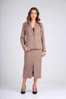 Костюм с юбкой 130507 серо-коричневый SandyNA