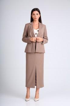 Костюм с юбкой 130515 серо-коричневый SandyNA