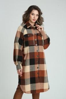 Рубашка-пальто 13925 мультиколор клетка SandyNA