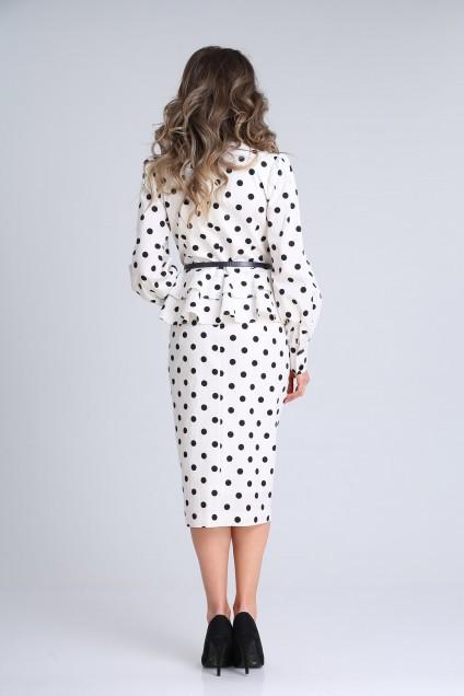 *Платье 13939 белый+черный горох SandyNA