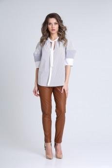 Блузка 13953 белый + полоска SandyNA