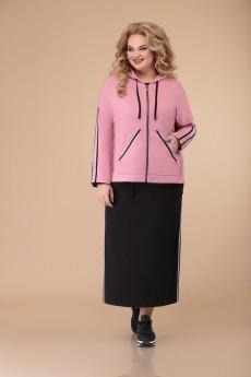 Костюм с платьем 1501 черный+розовый Svetlana Style