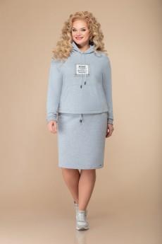 Костюм с юбкой 1502 серый Svetlana Style