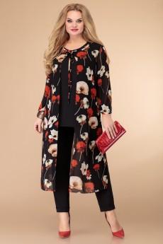 Костюм брючный 1523 черный+цветы Svetlana Style