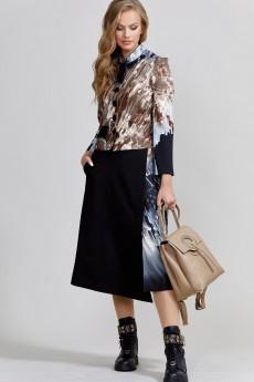 Костюм с юбкой 1533 черный + кристал TEFFI Style