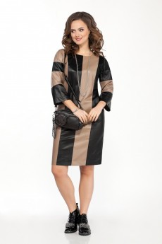 Платье 2059 черный + бежевый TEZA