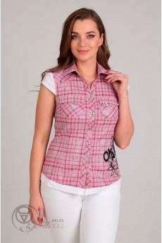 Блузка 62149 розовая клетка Tair-Grand