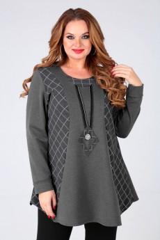 Блузка 62359 серый+клетка Tair-Grand