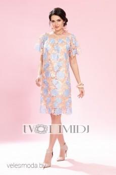 Платье 1231 голубой+пудра Твой Имидж
