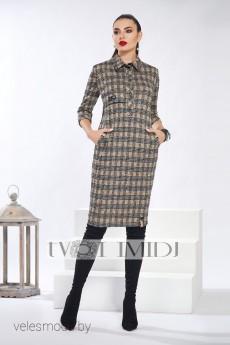 Платье 1280 горчица+серый+черный Твой Имидж