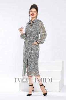 Платье 1292 серый с зеленым отливом Твой Имидж