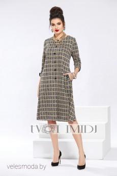 Платье 1296 серый+горчичный Твой Имидж
