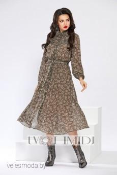Платье 1298 оливковый+хаки Твой Имидж