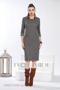 Платье 1311 розовый+серый+черный Твой Имидж