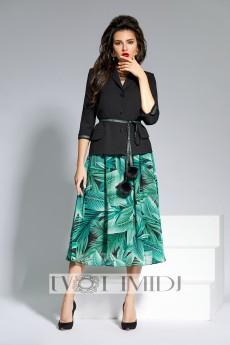 Костюм с юбкой 1321 черно-зеленый Твой Имидж